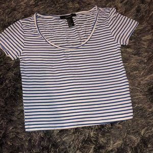 Cropped blue and white stripes shirt